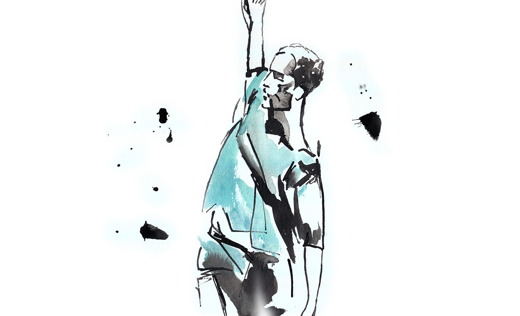 Thomas Vantuycom in A Love Supreme by Anne Teresa de Keersmaeker and Salva Sanchis, illustration © Araso