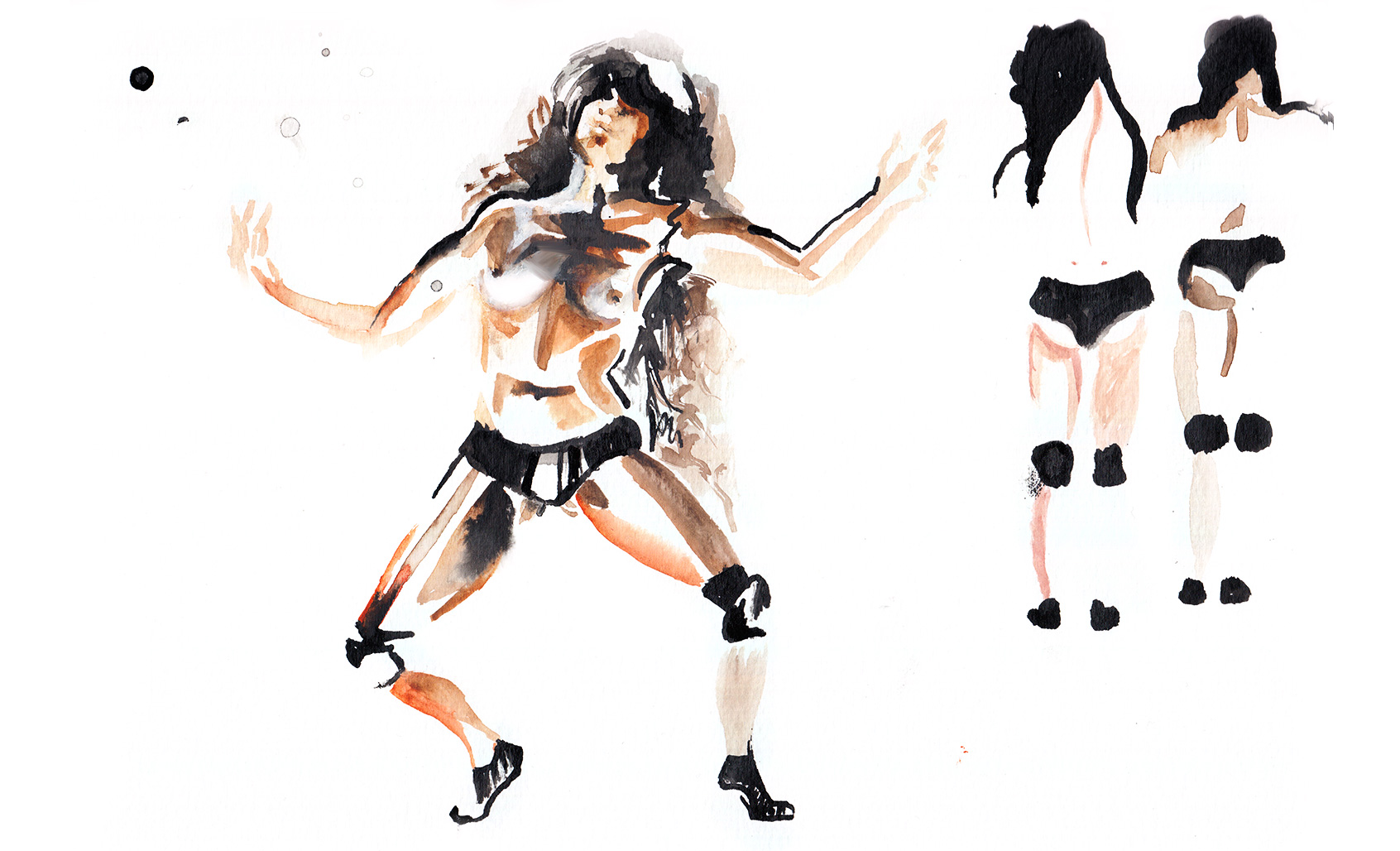 Anna Pi, Cecilia Bengolea and Alex Mugler in Twerk, illustration © Araso