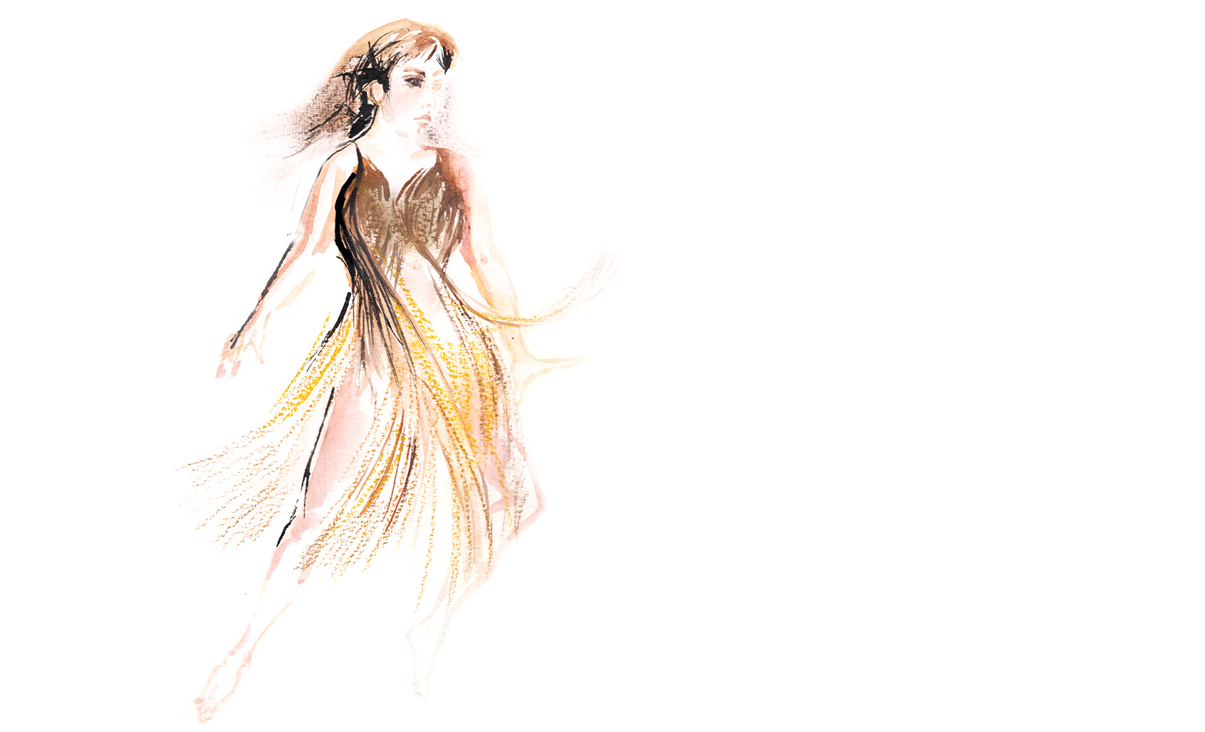Claire Vivianne Sobottke wearing the hair dress in Meg Stuart's Until our hearts stop - illustration Araso