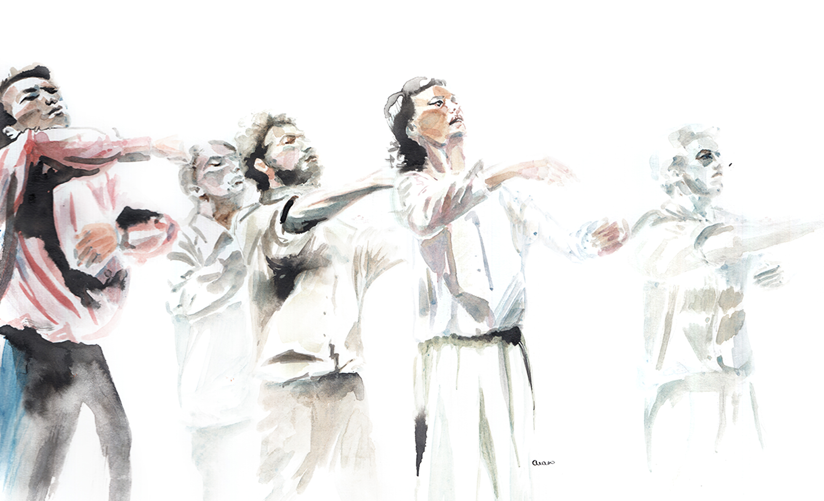 Hofesh Shechter, Grand Finale, illustration by Araso