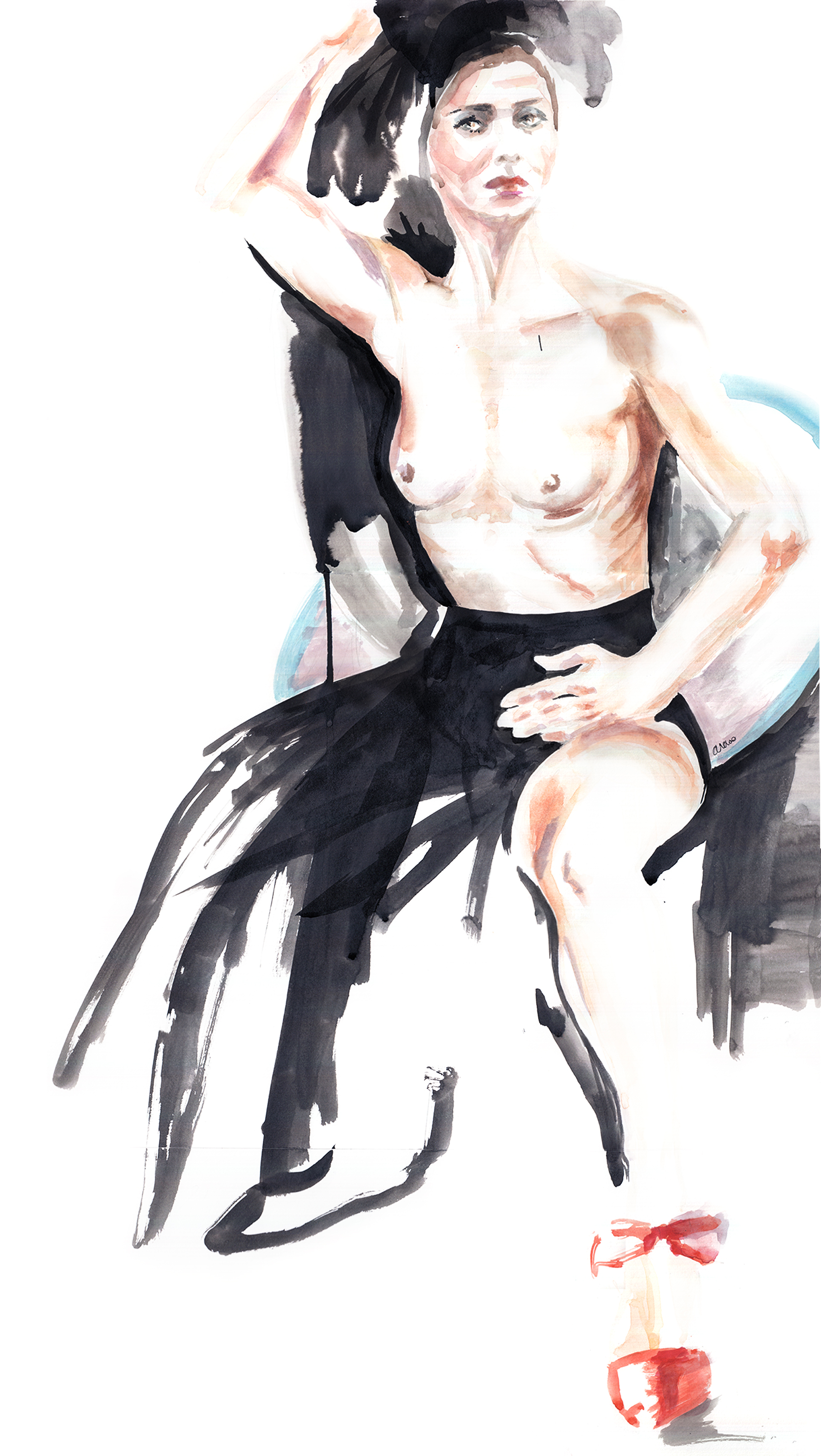 Flamenca Olga Pericet performing in Combourg, Festival Extension Sauvage, June 2017, watercolor by Araso